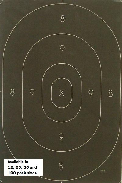 Silhouette Target Center Replacement for the NRA B-27 Target- Black Center Rendition (Pack of 100)
