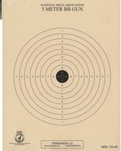 TQ-40 - Air Rifle (BB Gun) Target - 5 Meter Range Official NRA Target- (Pack of 100)