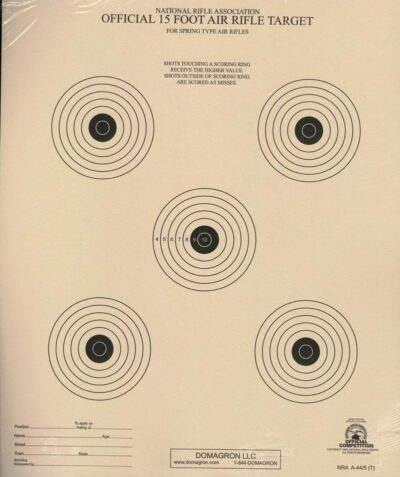 A-44/5 - 15 Foot Air Rifle Five Bulleye Official NRA Target