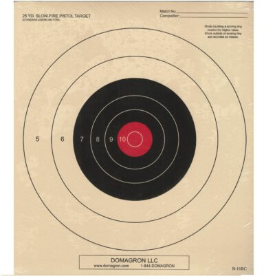 B-16 - 25 Yard Slow Fire Pistol Target Red Center Variant of the Official NRA Target