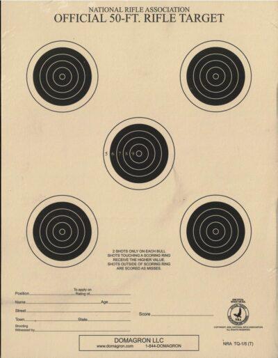 TQ-1/5 - 50 Foot Small Bore Five Bullseye Official NRA Target