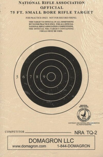 TQ-2 - 75 Foot Smallbore Rifle Target Official NRA Target (Pack of 100)