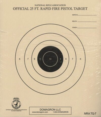 TQ-7 - 25 Foot Timed and Rapid Fire Pistol Target Official NRA Target