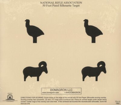 TQ-13 - 50 Foot Pistol Animal Silhouette Target (pack of 100)