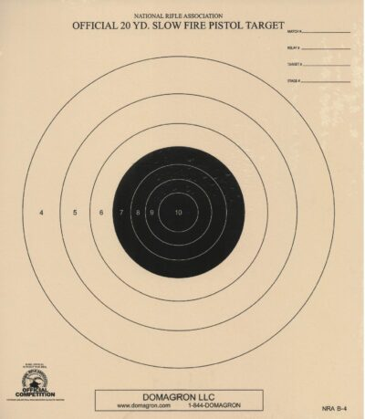 B-4 - 20 Yard Slow Fire Target Official NRA Target