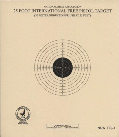 TQ-9 - 25 Foot International Free Pistol Target Official NRA Target (Pack of 100)