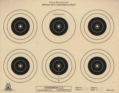 A-32 - 50 Foot Light Rifle Six Bullseye Official NRA Target