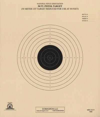 B-11 - 50 Foot Reduction of 50 Meter UIT Slow Fire Pistol Target Official