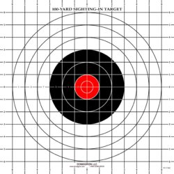 ST-3RC - 100 Yard Rifle Sighting Target with Red Center (Pack of 100)