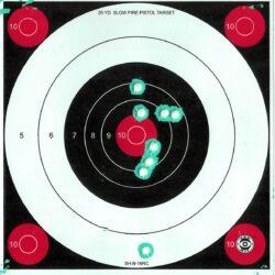 Green Fluorescent Reactive Target - 25 Yard Slow Fire Pistol Target B-16 (24 Pack)