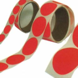 Dayglo Red Self-Adhesive Circle Pasters - 125 per roll