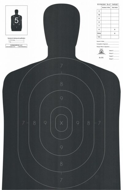 B-27-E Official Economy version of 50 Yard Silhouette Target - (Pack of 100)
