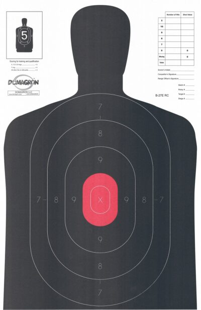 B-27- E 50 Yard Silhouette Target w/ Red Center- (Pack of 100)