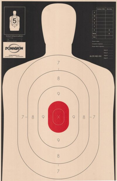 B-27- E 50 Yard Reverse Silhouette Target w/ Red Center- (Pack of 100)
