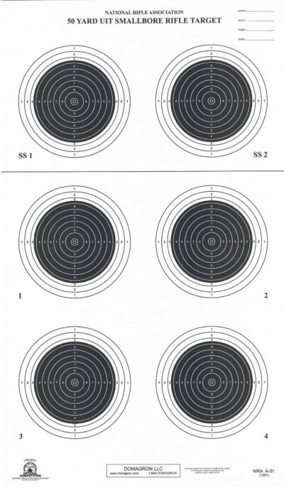 A-51 50 Yard Smallbore Rifle Target (Pack of 100)